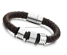 Bio Magnetic Leahter Bracelet with Magnetic Clasp