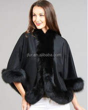 Winter cashmere capes and ponchos for women shawls with fox fur trim