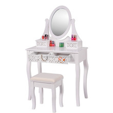 Top quality wooden dressing table with mirror and stool