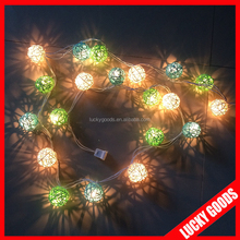 decorative long string natural rattan ball light wholesale