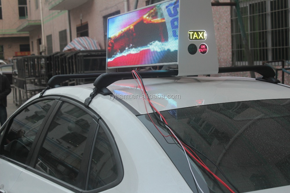 Alibaba shenzhen full color 3G/4G/WIFI/USB taxi top roof for taxi cab with led screen price