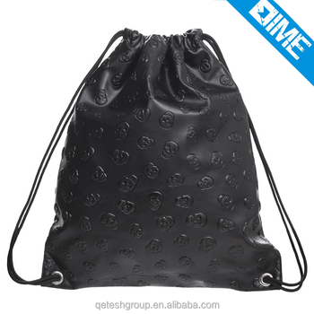 Promotional ladies stylish pu leather dust drawstring bag