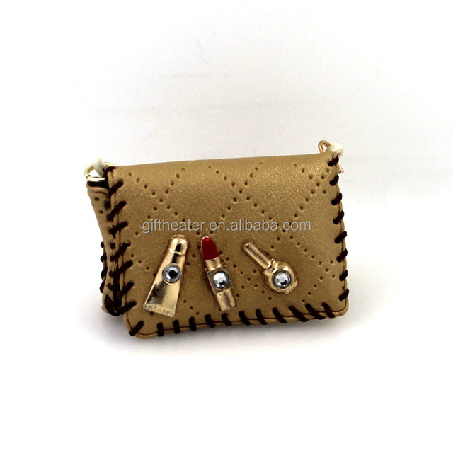 Delicate miniature creative leather cosmetic bag shape key chain