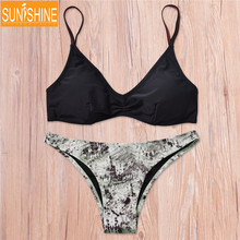 Sexy Print Plaid Biquini Swimwear Bikini Set Push-up Padded Bra Brazilian Bathing Suits