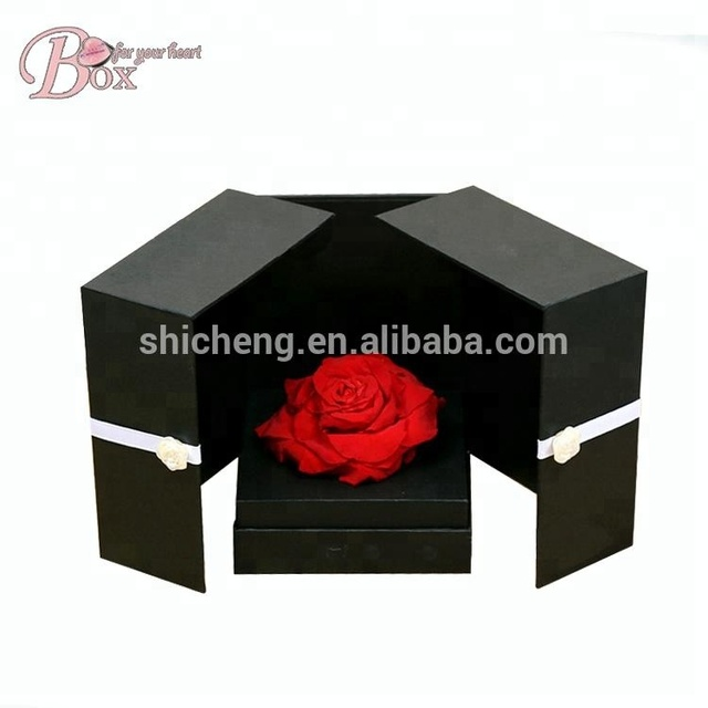Black Shipping Cardboard Box Jewelry Packaging Customised Fower Box Luxury