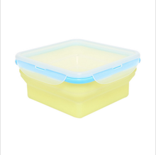 1pcs Eco-friendly Silicone Folding Microwave Bento Square Lunch Bowl Food Fruit Container Storage box CA