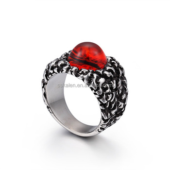 Dark red Punk Stainless Steel Kalen For Men Setting Gothic wing Finger Ring Jewelry