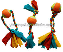 rope and tennis ball dancing toy for pets