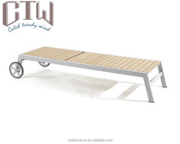 CTW Aluminum Frame Beach Bed / Plastic Wood Sun Lounger Chaise Lounger