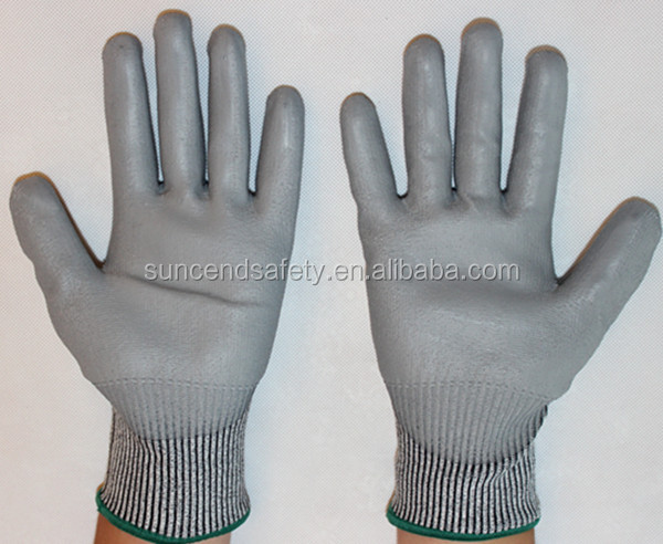 Suncendsafety PU coated cut resistant work glove for assembling metal parts