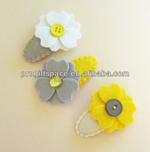 Hot new bestselling product wholesale alibaba handmade Wool Felt Scallop Flower Hair Baby Girl Clip made in China