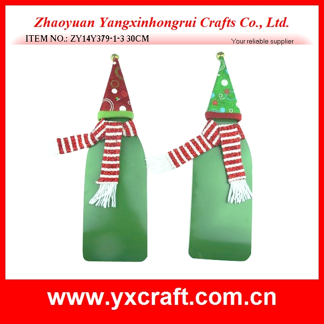 Christmas decoration (ZY14Y379-1-3 30CM) wine knitted scarf and hat cap decoration christmas wine decor