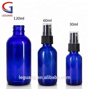 Hot sale 30ml 60ml 120ml amber blue cosmetic skin care glass lotion bottle with lotion pump
