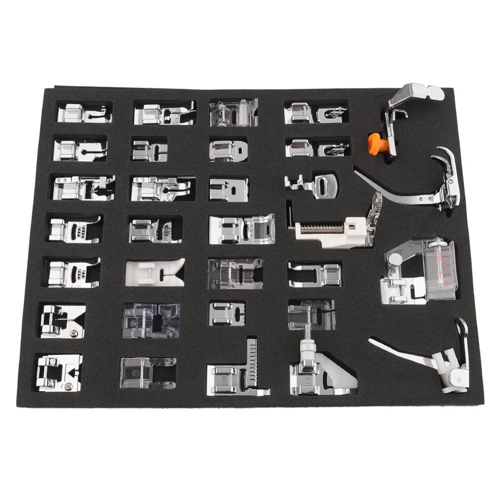 Universal 32 pcs Sewing Machine Feet Set Braiding/Blind Stitch/Darnign Foot Kit