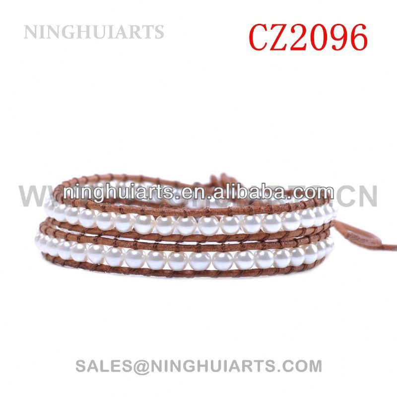 beaded wooden metal rhinestone crystal leather New Product bracelet