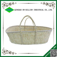 Cheap high quality handmade undreesed mose basket for baby