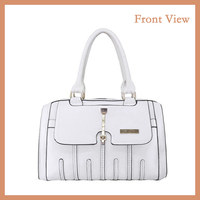 China Wholesale Personality Style White PU Tote Bag Handbag For Office Lady
