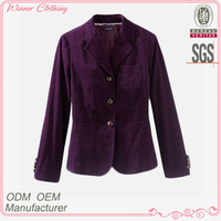 clothing manufacturer top fashion shawl collar sleeve with button curved hem slim-fitting short coats for women