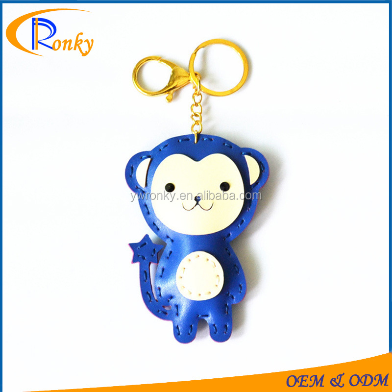 Leather cartoon mobile monkey keychains for women