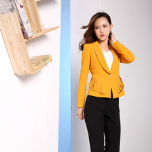 China Office Women Suit Factory Long Sleeve Yellow Fashion Tassel Lady Suit Jacket