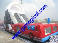 hot sale bounce house slide inflatable fire truck