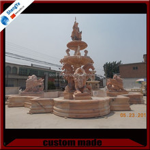 Large Size Marble Water Fountain with Lion Statue Sculpture