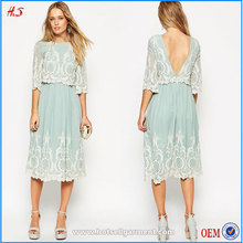 Latest Dress Designs Cheap China Wholesale Clothing For Ladies Double Layer Midi Embroidered Dress