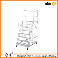 Industrial Platform Step Truck Warehouse Steel Ladder With 4 Wheels