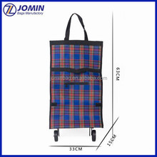 Rolling Wheeled Shopping Tote Bag, Cheap Folding Wheeled Marketing Trolley Bag