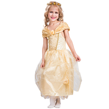 Summer Carnival Girl Party Dress Belle Elsa Cosplay Dress Princess Costume For Kids
