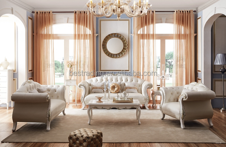 Luxury French Baroque Bright Color Living Room Sofa Set/Royal Palace Hand Carved Fabric Sofa/European Living