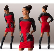 Patchwork Dress 2016 Autumn Long Sleeve Color Block Dress Women Tight Leather Sheath Dresses with Big Front Pockets