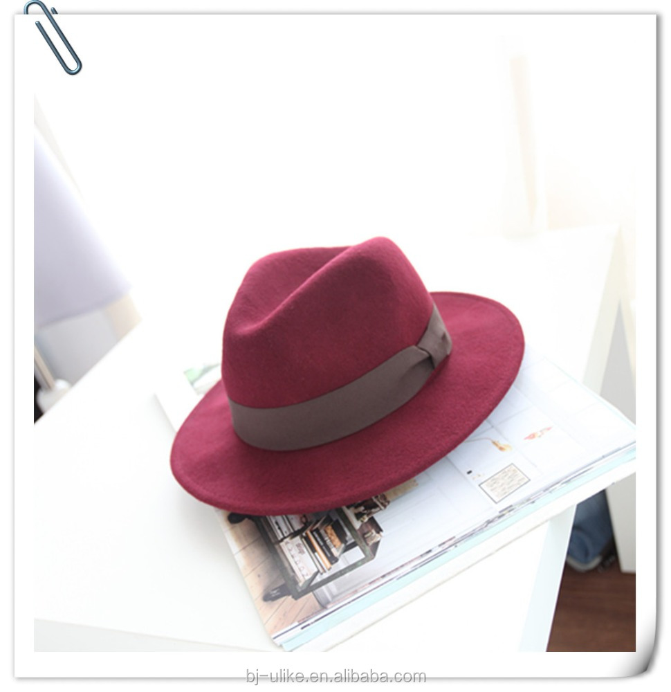 Panama Wool Felt wide brim Hat men women fedora hat
