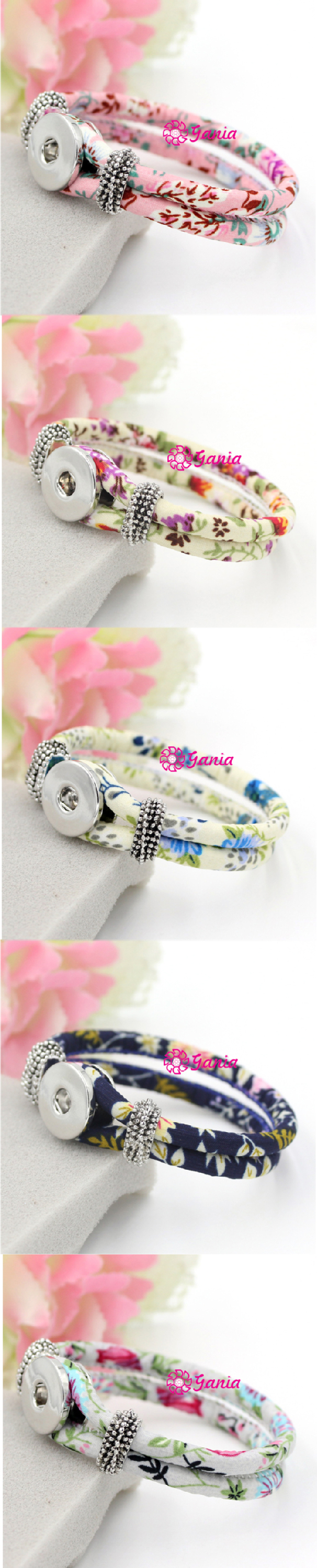 New Arrival Interchangeable Snap Jewelry Flower Printed Fabric Rope Wrap Snap Bracelets for DIY Buttons