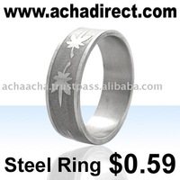 Fashion jewelry manufacturer,stainless steel ring engraved with marijuana leaves, price starts from US$ 0.59 per piece