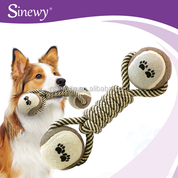 Pet Products Dog Toys Cotton Rope Chew Toys with Tennis Balls