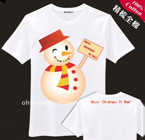 2012 promotional merry christmas mens white round neck jersey led t shirt