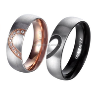 His & Hers Real Love Heart Promise Stainless Steel Diamond Wedding Ring Set for Couples Jewelry
