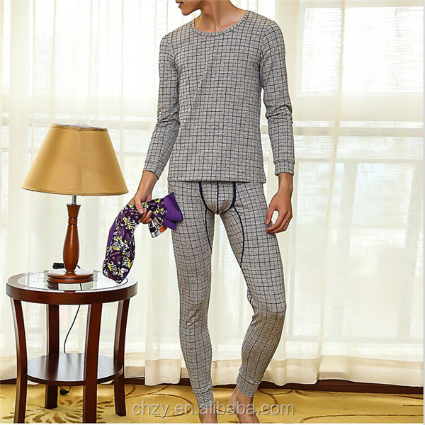 Cassual grid style man thermal suit checks pajamas