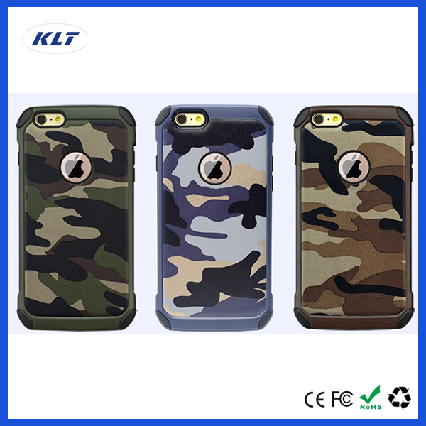 KLT OEM Army Camo Camouflage Pattern Back Cover Hard Plastic & Soft TPU Armor Protective Phone Cases For iPhone 6 6S 7 Plus 4 4S