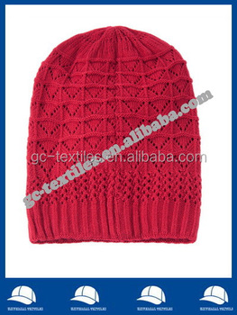100% acrylic chic baggy Beanie Hat in blue or red