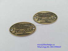 Golden metal logo 2 hole sewing label tag for luggage and leather handbag