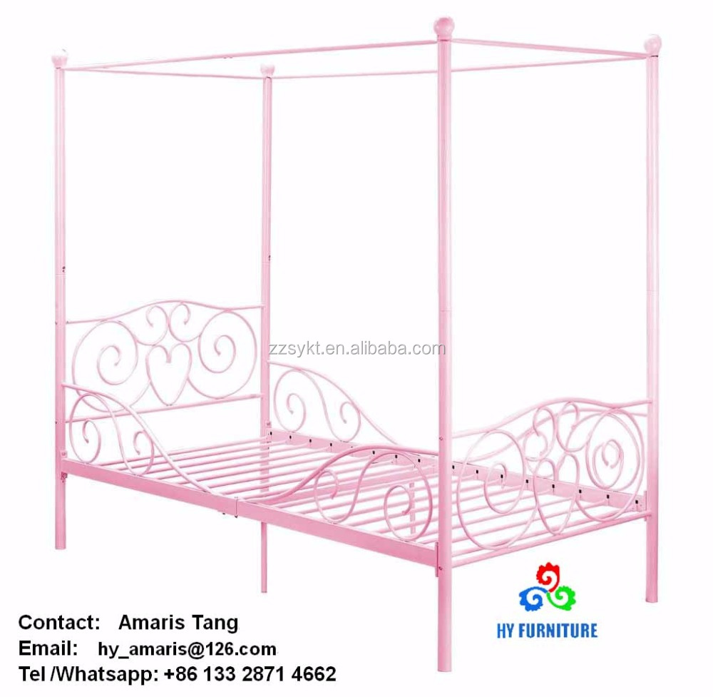 Adult kids princess bedroom furniture wrought iron metal canopy beds