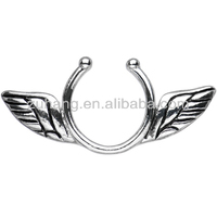Nipple Jewellery 316L Surgical Steel Antique Angel Wings Clip On Fake Piercing Nipple Ring