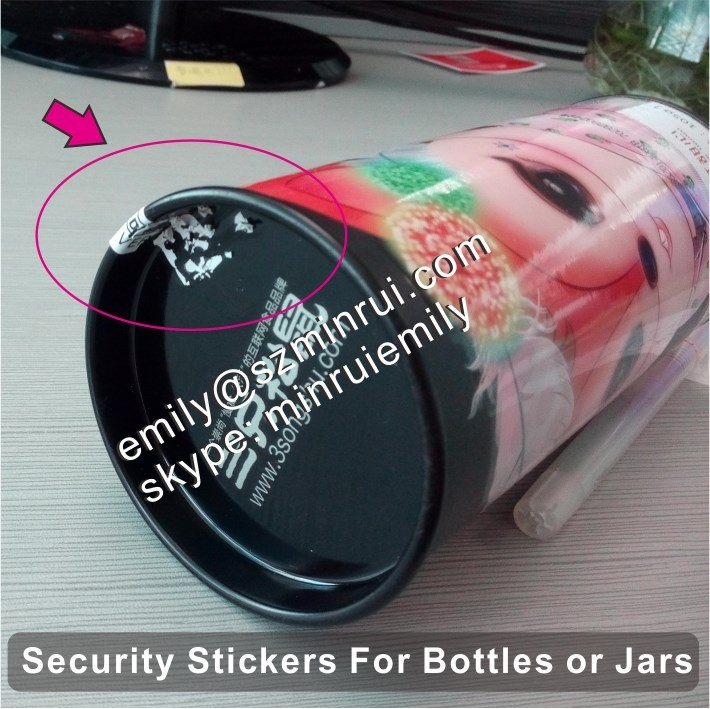 Custom brittle tamper evident seal stickers for bottles or jars, tamper proof seals for jars
