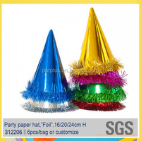 Wholesale fancy fringed foil party paper hats