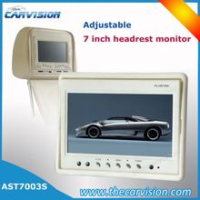 Adjustable hideaway headrest 7 inches tft lcd color monitor
