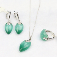 S925 sterling silver cat's eye stone earrings set jewelry set