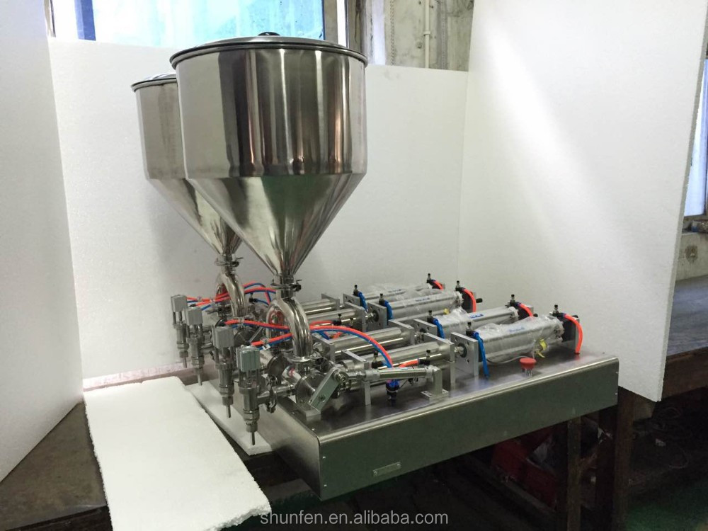 Semi-auto 4-head cream Filling Machine (4-head paste filling machine for cheeze, sauce, oitnment, paste, butter)