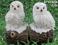 Set of Two White Owl with Motion Sensor